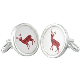 Rustic Deer Silhouette Red amb Black Plaid Tartan Cuff Links