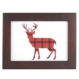 Rustic Deer Silhouette Red and Black Plaid Tartan Keepsake Box