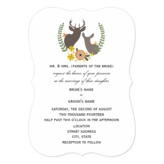 Rustic Deer Wedding - Orange Floral Card