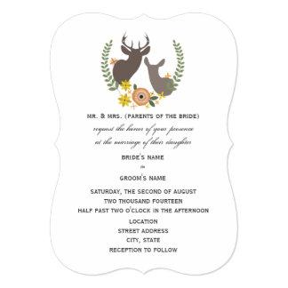 "Rustic Deer Wedding - Orange Floral 5"" X 7"" Invitation Card"
