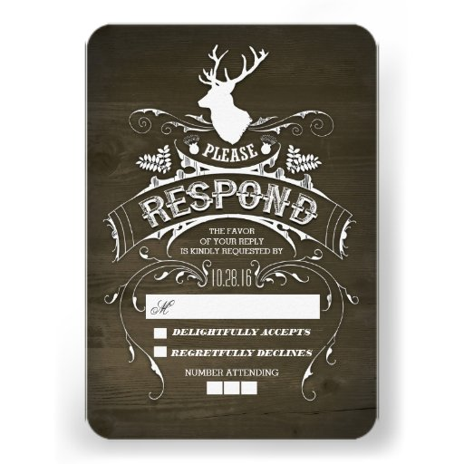 Rustic Deer Wooden Wedding RSVP Cards Personalized Invites