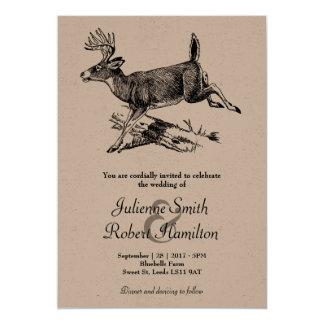 Rustic Deer Woodland Wedding Invitation