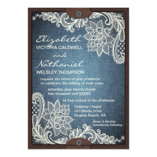 Rustic Denim Lace & Leather Wedding Invitation