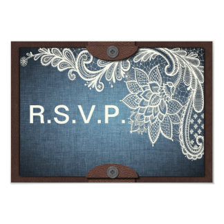 Rustic Denim, Lace & Leather Wedding RSVP Card
