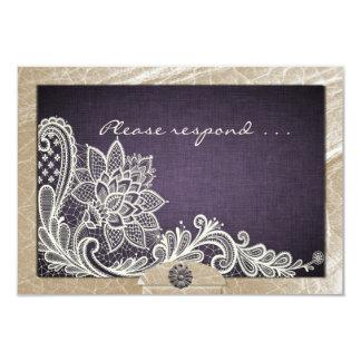 denim lace wedding rsvp card