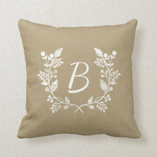 Rustic Distressed Beige And White Wreath Throw Pillow