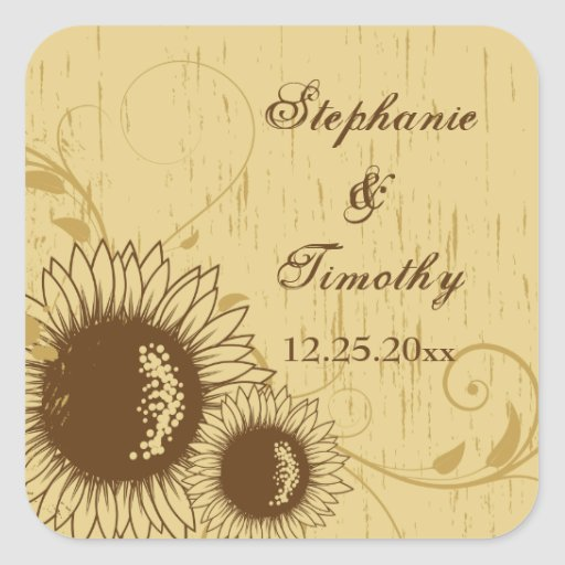 Rustic distressed sunflower wedding stickers