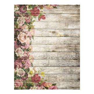 Rustic distressed vintage roses painting on wood customized letterhead