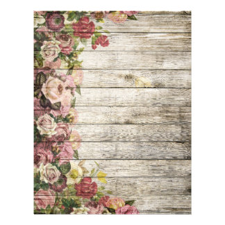 Rustic distressed vintage roses painting on wood letterhead