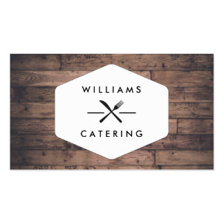 Rustic Distressed Wood Fork Knife Intersect Logo Business Card