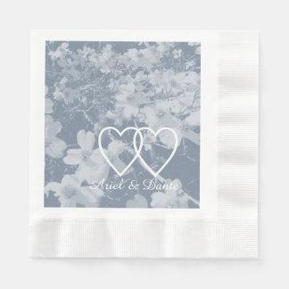 Rustic Dogwood Blossom Wedding Handfasting lt. Gry Paper Napkin