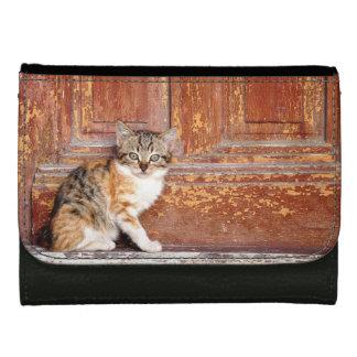 Rustic Door Cat Kitten Ladies Wallet Purse