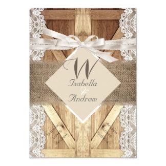 "Rustic Door Wedding Beige White Lace Wood Burlap 2 5"" X 7"" Invitation Card"
