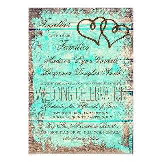 Rustic Double Hearts Aqua Wood Wedding Invites