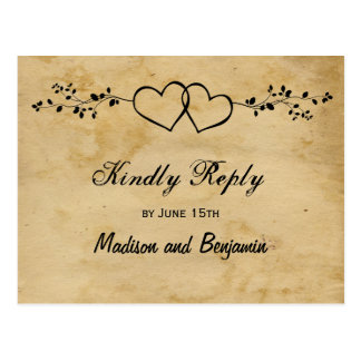 Rustic Double Hearts Wedding RSVP POSTCARDS