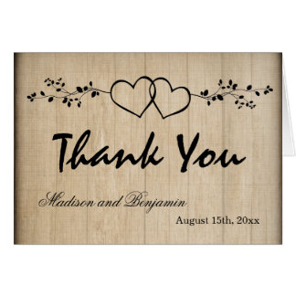 Rustic Double Hearts Wedding Thank You Cards