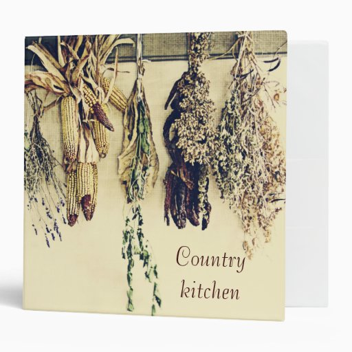 Rustic dried herbs and corn still life country binder