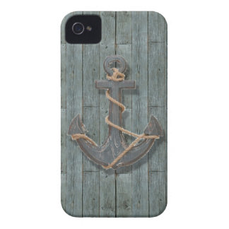 Rustic driftwood Teal Beach Wood nautical anchor iPhone 4 Case-Mate Case