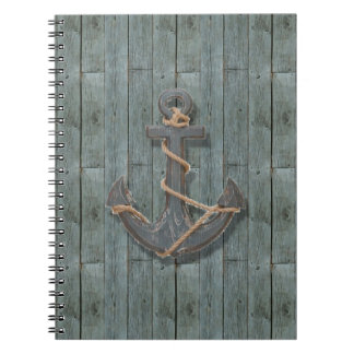 Rustic driftwood Teal Beach Wood nautical anchor Notebooks