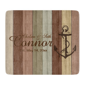 Rustic Earth tone Wood Nautical Stripes & Anchor Boards