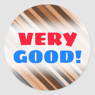 Rustic, Earthy Brown, Beige and Grey Stripes Classic Round Sticker