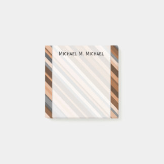Rustic, Earthy Brown, Beige and Grey Stripes; Name Post-it® Notes