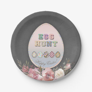 Rustic Easter Egg Hunt Party Chalk Floral Paper Plate