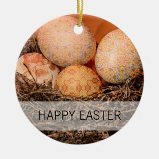 Rustic Easter eggs in nest Ceramic Ornament