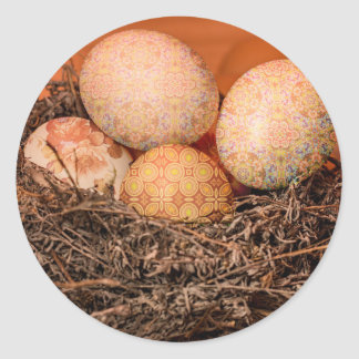 Rustic Easter eggs in nest Classic Round Sticker