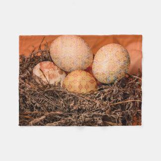Rustic Easter eggs in nest Fleece Blanket