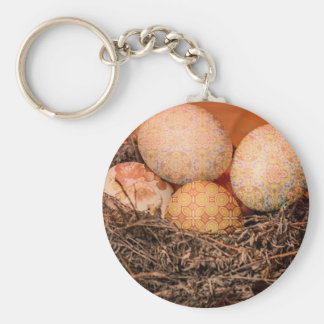 Rustic Easter eggs in nest Keychain
