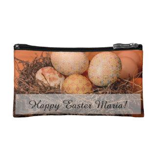 Rustic Easter eggs in nest Makeup Bag