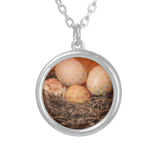 Rustic Easter eggs in nest Silver Plated Necklace
