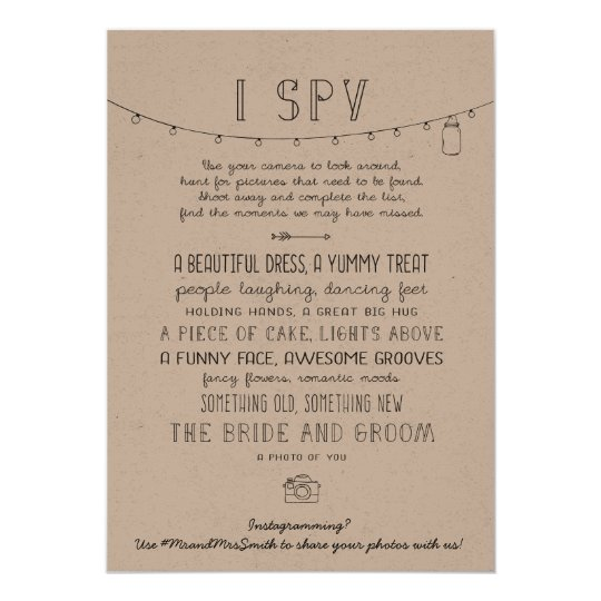 Rustic Editable Instagram Wedding I Spy Game Card