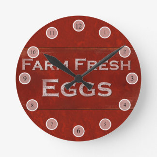 Rustic Eggs Sign Wall Clock