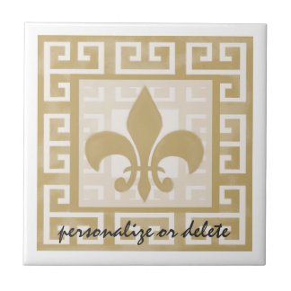 Rustic Elegance Fleur de Lis Greek Key Pattern Ceramic Tiles