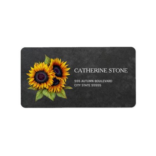 Rustic elegant chalkboard sunflowers address