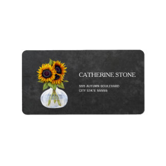 Rustic elegant chalkboard sunflowers address label