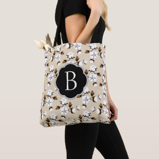 Rustic Elegant Cotton Flowers & Initial Letter Tote Bag