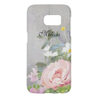 Rustic Elegant Floral  BOHO Bohemian Peony Floral Samsung Galaxy S7 Case