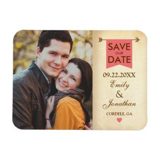 Rustic Elegant Photo Save The Date Magnet