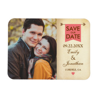 Rustic Elegant Photo Save The Date Rectangular Photo Magnet