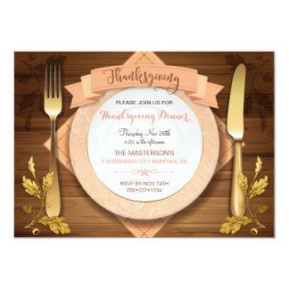 Rustic Elegant Place Setting Wood Acorn Leaf Gold Card