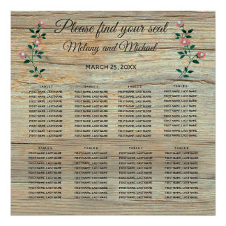 Rustic elegant  wooden roses wedding Seating Chart