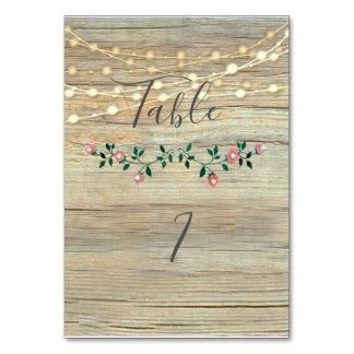 Rustic elegant  wooden string lights roses card
