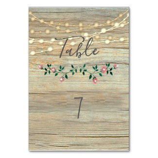 Rustic elegant  wooden string lights roses table number