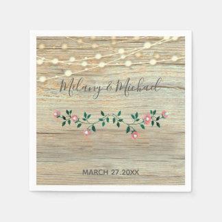 Rustic elegant  wooden string lights roses wedding paper napkin