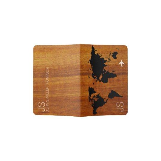 rustic & elegant world map on faux wood grains passport holder
