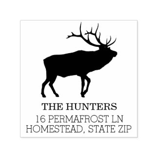 Rustic Elk | Custom Family Name Return Address Self-inking Stamp