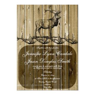 "Rustic Elk Wildlife Hunting Wedding Invitations 5"" X 7"" Invitation Card"